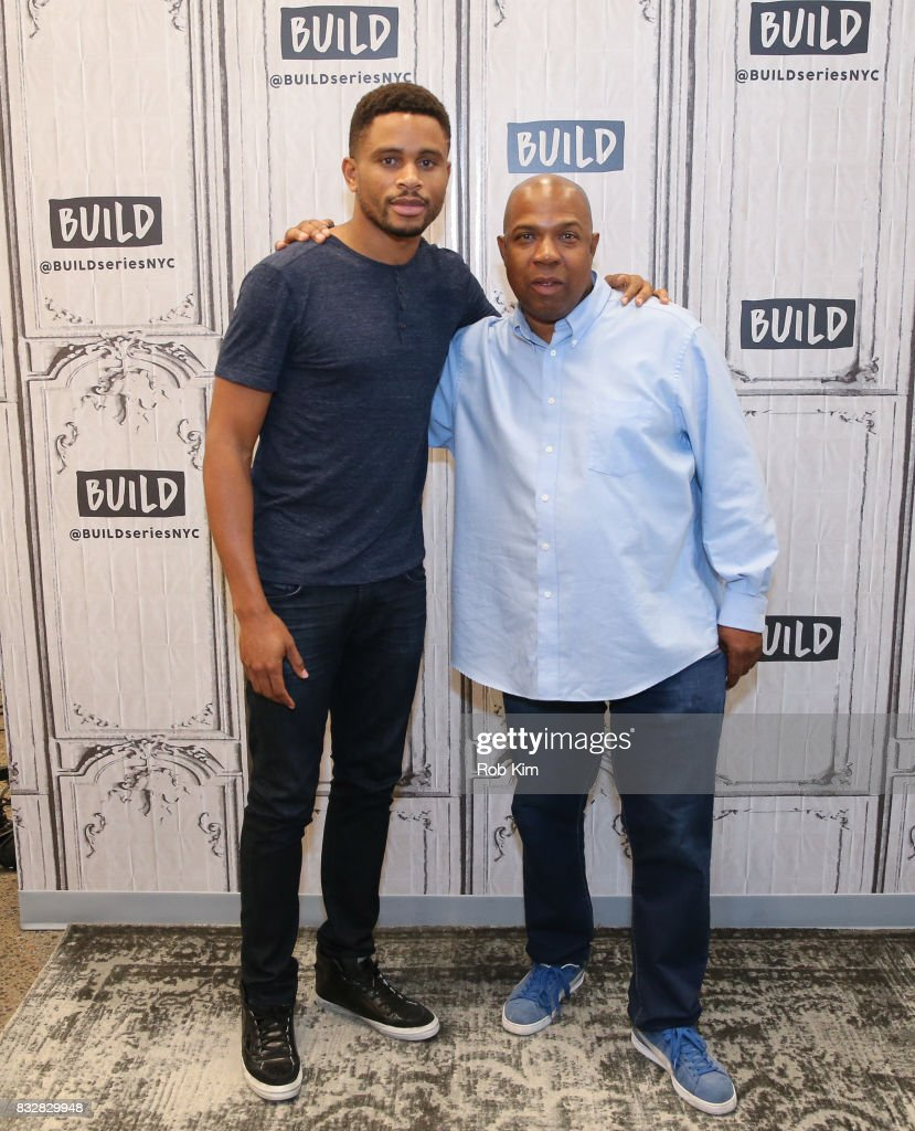 Nnamdi Asomugha (L) and Carl King of 'Crown Heights' visit at Build Studio on August 16, 2017 in New York City.