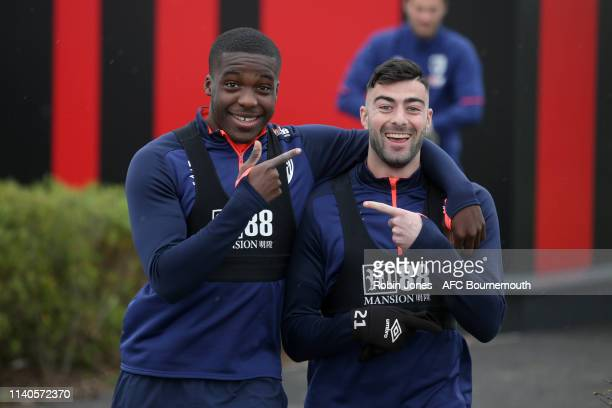 Nnamdi Ofoborh and Diego Rico of Bournemouth during a training session at Vitality Stadium on April 05, 2019 in Bournemouth, England.