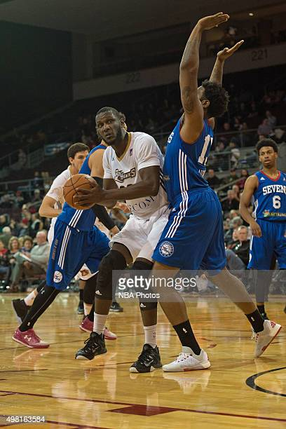 Nnanna Egwu of the Erie BayHawks drives to the basket against the Delaware 87ers at the Erie Insurance Arena on November 20 2015 NOTE TO USER User...