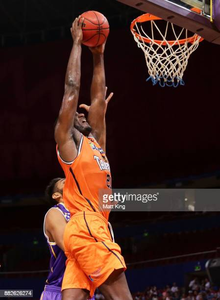 Nnanna Egwu of the Taipans drives to the basket during the round eight NBL match between the Sydney Kings and the Cairns Taipans at Qudos Bank Arena...