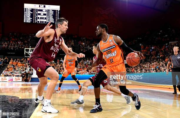 Nnanna Egwu of the Taipans looks to take on the defence during the round 10 NBL match between the Cairns Taipans and the Brisbane Bullets at Cairns...