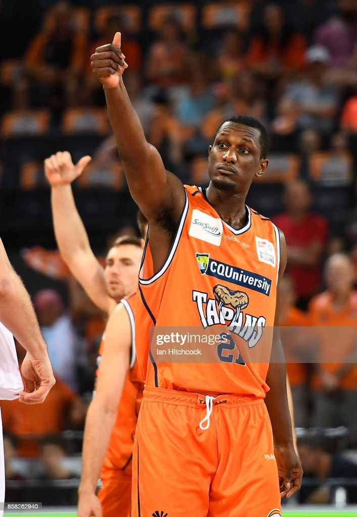 Nnanna Egwu of the Taipans signals before the start of the round one NBL match between the Cairns Taipans and the Illawarra Hawks at Cairns Convention Centre on October 6, 2017 in Cairns, Australia.