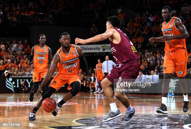 Nnanna Egwu of the Taipans takes on the defence during the round 10 NBL match between the Cairns Taipans and the Brisbane Bullets at Cairns...