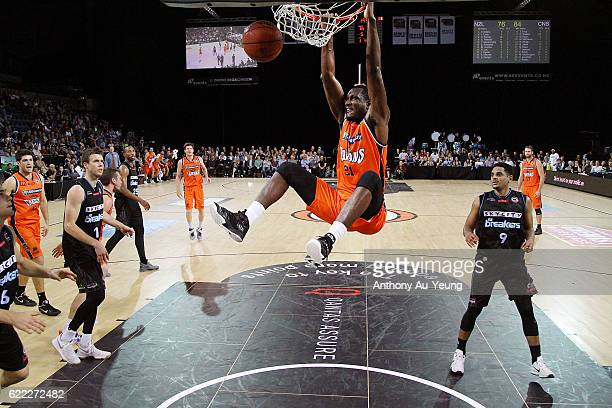 Nnanna Egwu of the Taipans with a dunk during the round six NBL match between the New Zealand Breakers and the Cairns Taipans at Vector Arena on...