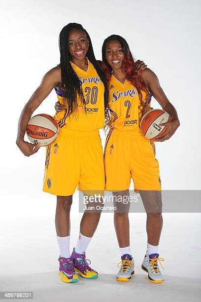 Nneka Ogwumike and Candice Wiggins of the Los Angeles Sparks pose for a photo during WNBA Media Day at Staples Center on May 10 2014 in Los Angeles...