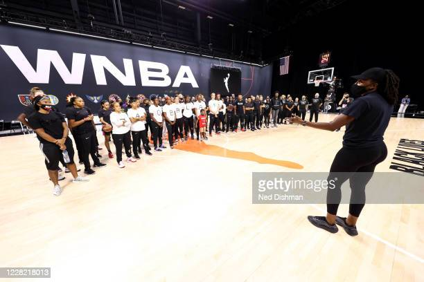 Nneka Ogwumike of the Los Angeles Sparks address WNBA players at Feld Entertainment Center on August 26, 2020 in Palmetto, Florida. NOTE TO USER:...