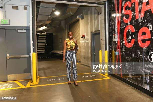 Nneka Ogwumike of the Los Angeles Sparks arrives for Game Three of the 2017 WNBA Finals on September 29 2017 in Los Angeles California  NOTE TO USER...