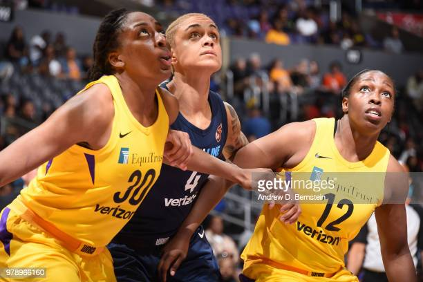 Nneka Ogwumike of the Los Angeles Sparks Candice Dupree of the Indiana Fever and Chelsea Gray of the Los Angeles Sparks wait for the ball on June 19...