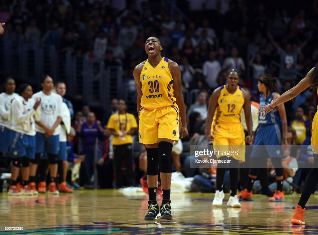 Nneka Ogwumike #30 of the Los Angeles Sparks celebrates after forcing a turnover against Minnesota Lynx during the second half of Game Three of WNBA Finals at Staples Center September 29, 2017, in Los Angeles, California.