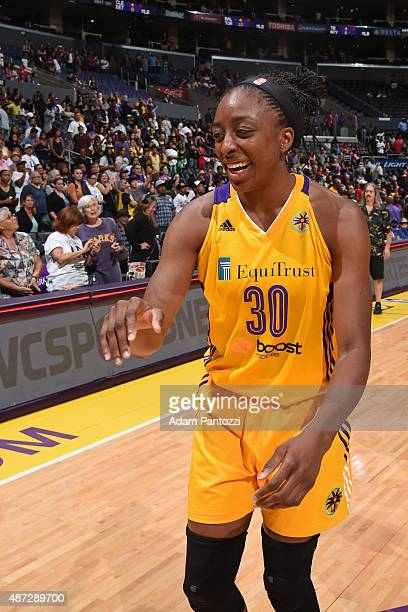 Nneka Ogwumike of the Los Angeles Sparks celebrates during the game against the Tulsa Shock at STAPLES Center on September 06 2015 in Los Angeles...