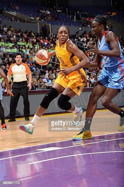 Nneka Ogwumike of the Los Angeles Sparks drives against the Atlanta Dream on July 16 2015 at STAPLES Center in Los Angeles California NOTE TO USER...