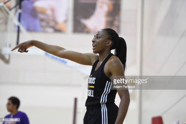 Nneka Ogwumike of the Los Angeles Sparks during practice at the Galen Center during the WNBA Finals in Los Angeles California on September 28 2017...