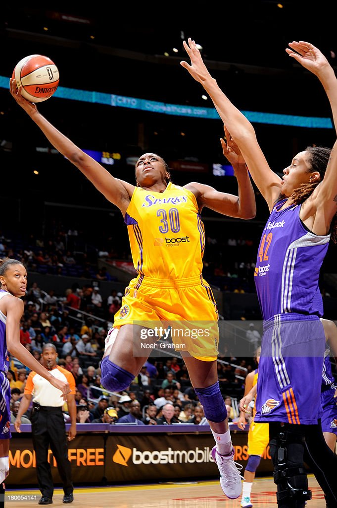 Nneka Ogwumike #30 of the Los Angeles Sparks gets to the hoop against Brittney Griner #42 of the Phoenix Mercury at Staples Center on September 15, 2013 in Los Angeles, California.