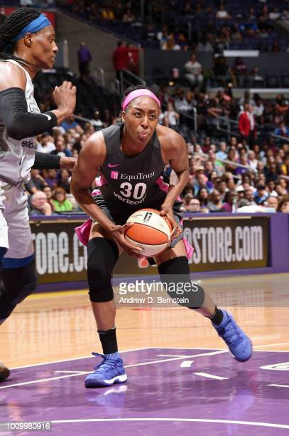Nneka Ogwumike of the Los Angeles Sparks handles the ball against the Minnesota Lynx on August 2 2018 at STAPLES Center in Los Angeles California...