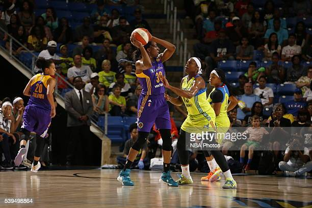 Nneka Ogwumike of the Los Angeles Sparks handles the ball against the Dallas Wings on June 11 2016 at College Park Center in Arlington Texas NOTE TO...