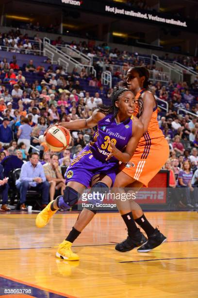 Nneka Ogwumike of the Los Angeles Sparks handles the ball against the Phoenix Mercury on August 24 2017 at Talking Stick Resort Arena in Phoenix...