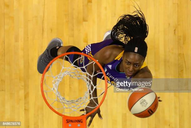 Nneka Ogwumike of the Los Angeles Sparks lays up a shot against the Phoenix Mercury during the first half of semifinal game three of the 2017 WNBA...