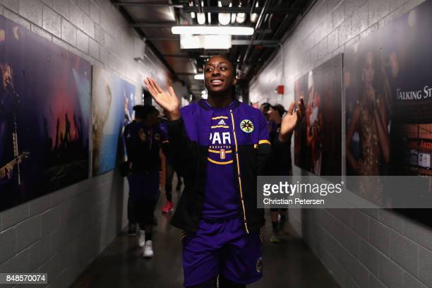 Nneka Ogwumike of the Los Angeles Sparks leads teammates out to the court before the semifinal game three of the 2017 WNBA Playoffs at Talking Stick...
