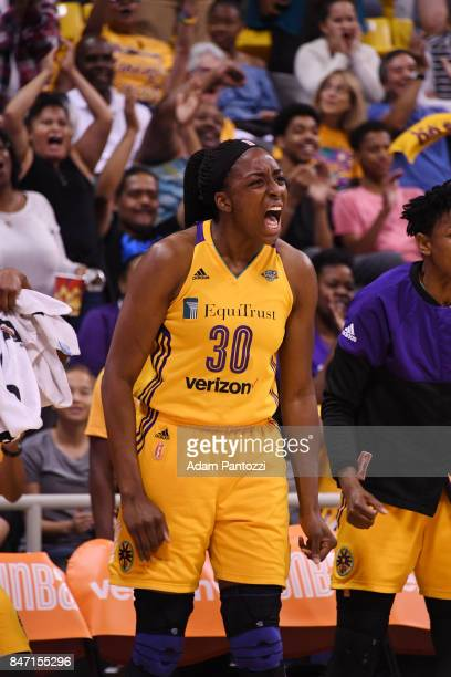 Nneka Ogwumike of the Los Angeles Sparks reacts to a play against the Phoenix Mercury in Game Two of the Semifinals during the 2017 WNBA Playoffs on...