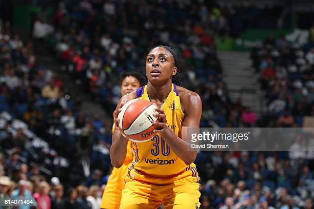 Nneka Ogwumike of the Los Angeles Sparks shoots a free throw against the Minnesota Lynx during Game Two of the 2016 WNBA Finals on October 11 2016 at...