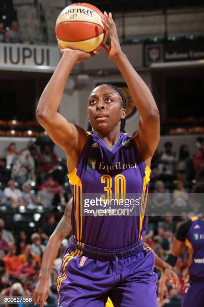 Nneka Ogwumike of the Los Angeles Sparks shoots a free throw against the Indiana Fever on June 24 2017 at Bankers Life Fieldhouse in Indianapolis...