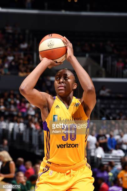 Nneka Ogwumike of the Los Angeles Sparks shoots a free throw during the game against the Seattle Storm on July 25 2017 at STAPLES Center in Los...