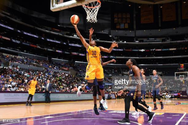 Nneka Ogwumike of the Los Angeles Sparks shoots a lay up during the game against the Connecticut Sun during a WNBA game on July 13 2017 at STAPLES...