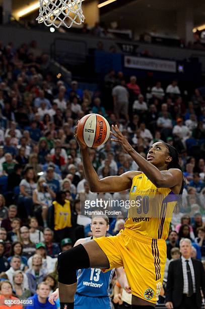 Nneka Ogwumike of the Los Angeles Sparks shoots the ball against the Minnesota Lynx in Game Two of the 2016 WNBA Finals on October 11 2016 at Target...