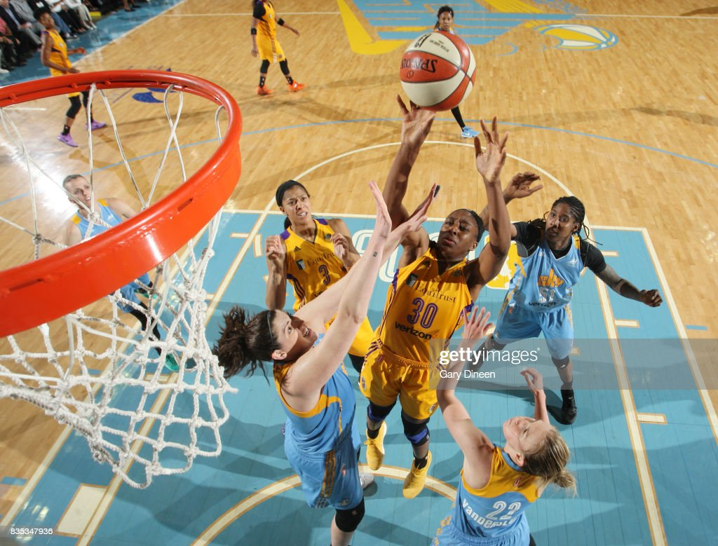 Nneka Ogwumike #30 of the Los Angeles Sparks shoots the ball against the Chicago Sky on August 18, 2017 at Allstate Arena in Rosemont, IL.