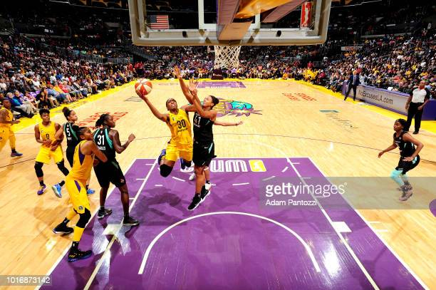 Nneka Ogwumike of the Los Angeles Sparks shoots the ball during the game against the New York Liberty on August 14 2018 at Staples Center in Los...