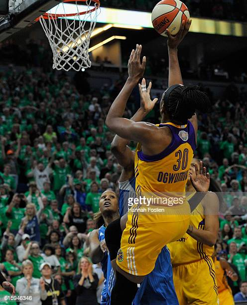 Nneka Ogwumike of the Los Angeles Sparks shoots the game winning basket against the Minnesota Lynx during the fourth quarter in Game Five of the 2016...