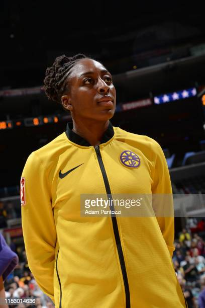 Nneka Ogwumike of the Los Angeles Sparks stands for the national anthem before the game against the Chicago Sky on June 30 2019 at the Staples Center...