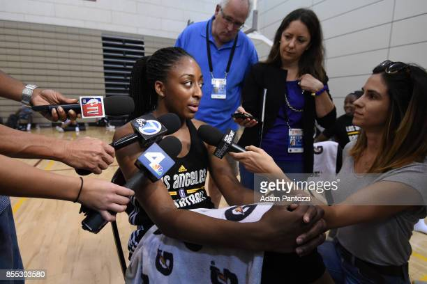 Nneka Ogwumike of the Los Angeles Sparks talks to the media during media availability the Galen Center during the WNBA Finals in Los Angeles...