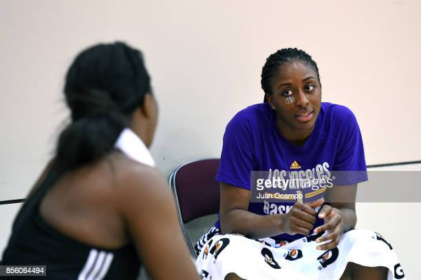 Nneka Ogwumike of the Los Angeles Sparks talks to the media during media availability and practice at the Galen Center during the WNBA Finals in Los...