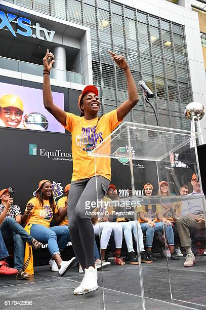 Nneka Ogwumike of the Los Angeles Sparks waves to the fans and dances on stage during the Championship Rally at LA LIVE on October 24 2016 in Los...