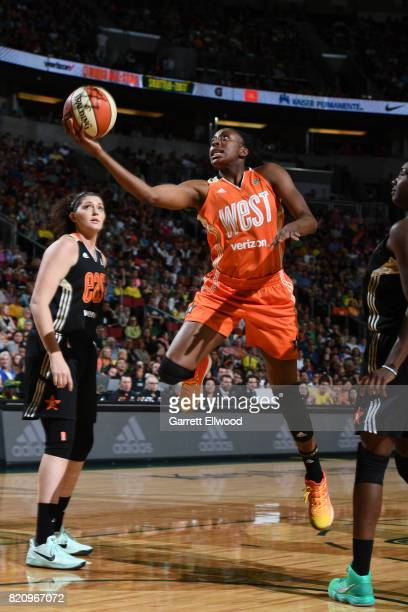 Nneka Ogwumike of the Western Conference AllStars drives to the basket against the Eastern Conference AllStars as part of the Verizon WNBA AllStar...