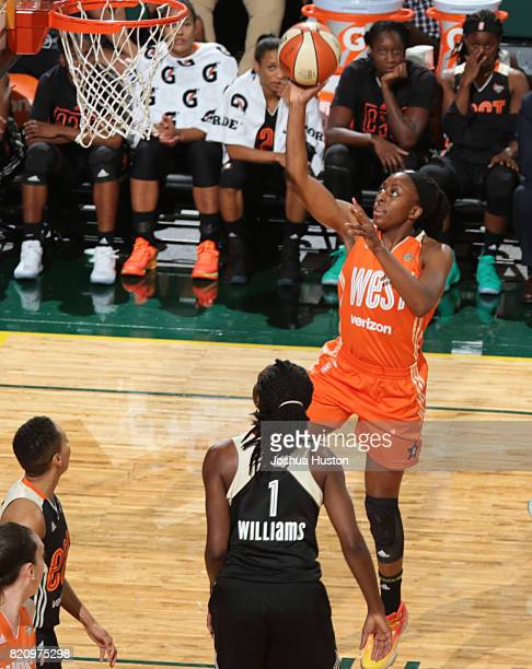 Nneka Ogwumike of the Western Conference AllStars goes to the basket during the Verizon WNBA AllStar Game 2017 at KeyArena on July 22 2017 in Seattle...