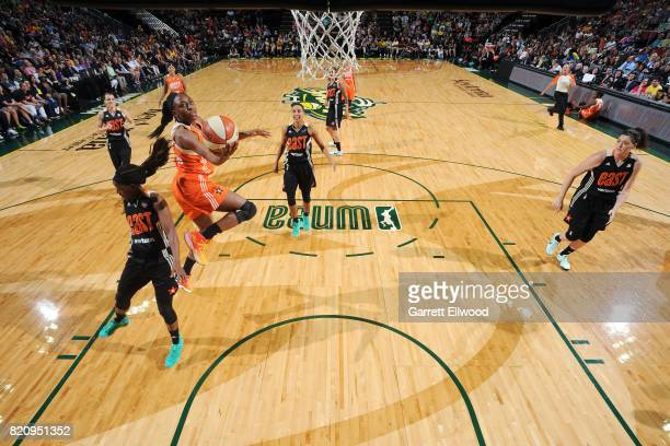 Nneka Ogwumike of the Western Conference AllStars shoots a lay up during the game against the Eastern Conference AllStars during the 2017 Verizon...