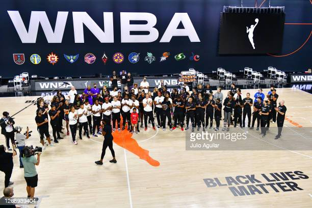 Nneka Ogwumike, president of the The Women's National Basketball Players Association, addresses players from the Atlanta Dream, Washington Mystics,...
