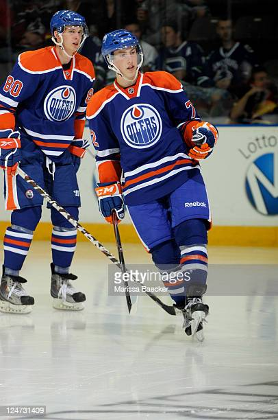 No. 1 draft pick, Ryan Nugent-Hopkins of the Edmonton Oilers skates on the ice at the start of the third period against the Vancouver Canucks at the...
