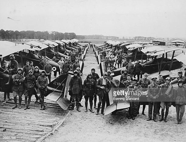 RAF No 1 Squadron posing for a photograph in Claremarais France The squadron was formed in 1878 as No 1 Balloon Company and has been in continous...
