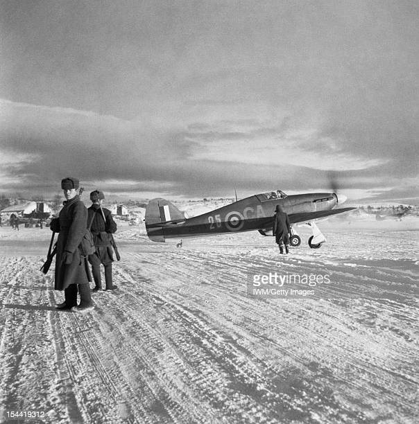 No 151 Wing Royal Air Force Operations In Russia September November 1941 A Hawker Hurricane Mark IIB Z5253 'GA25' of No 134 Squadron RAF taxies out...