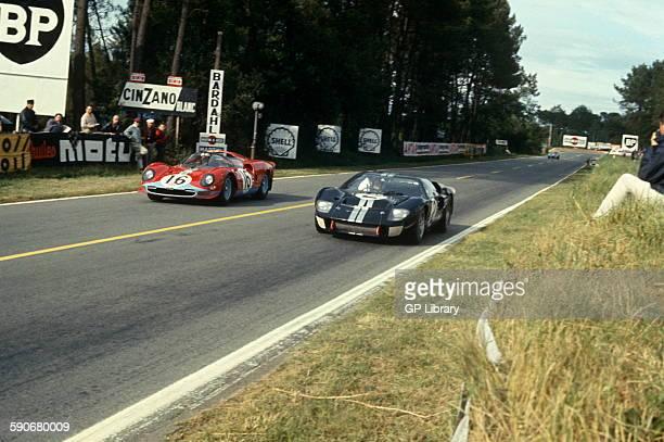 No 2 Bruce McLaren Chris Amon Ford Mk II won the race Richard Attwood David Piper Ferrari 365 P2 Spyder Le Mans 19 June 1966