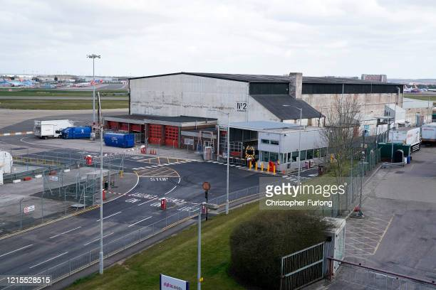 No 2 Hangar designated to become a temporary mortuary is pictured at Birmingham International Airport during the nationwide lockdown on March 29 2020...