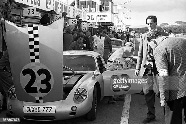 No 23 Fritz Hahnl Jr in a PorscheAbarth 356B Carrera GTL in the pits Tourist Trophy Goodwood England 19 Aug 1961