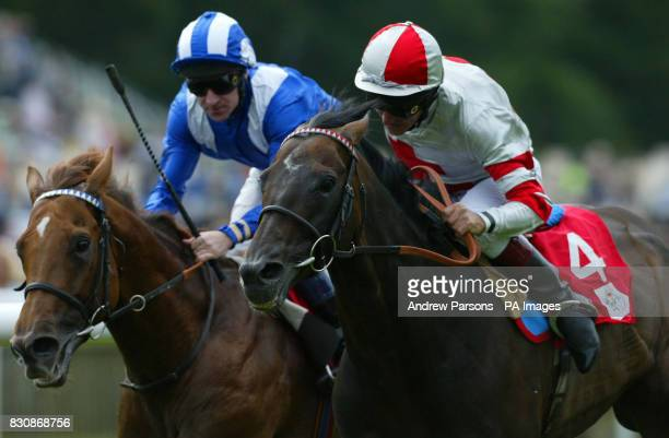 No 4 Millenary ridden by Pat Eddery beats Mubtaker ridden by RHills to win the Princess Of Wales UAE Racing Federation Stakes at Newmarket Races