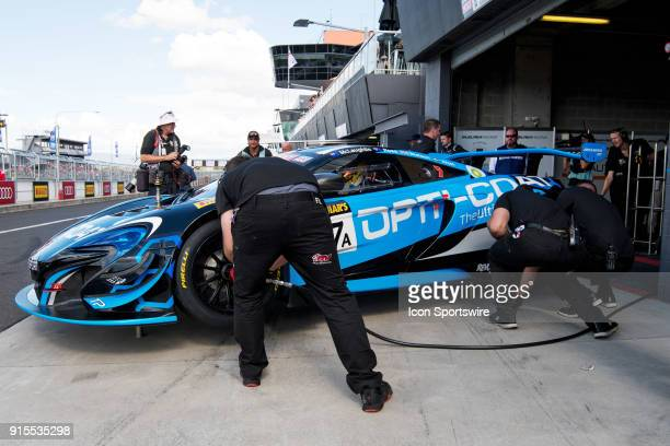 No 47 YNA Autosport Mclaren 650S GT3 driven by Scott McLaughlin gets a set of hot tyres for qualifying at The LiquiMoly Bathurst 12 Hour Endurance...