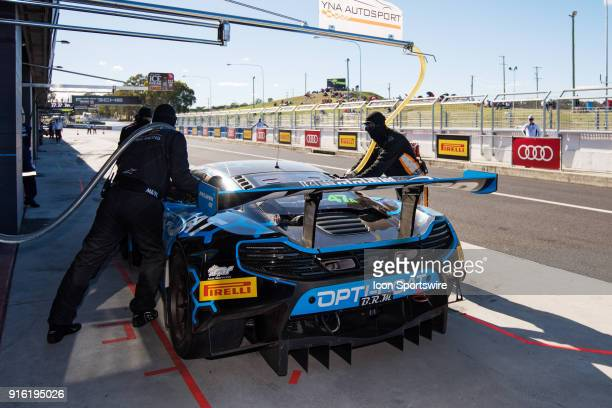 No 47 YNA Autosport Mclaren 650S GT3 driven by Scott McLaughlin / Fraser Ross / Andrew Watson / Alexander West takes a late pitstop at The LiquiMoly...