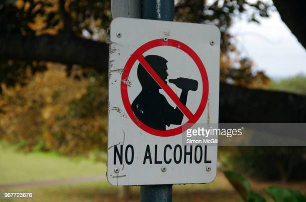 no alcohol sign in a public park - forbidden stock pictures, royalty-free photos & images