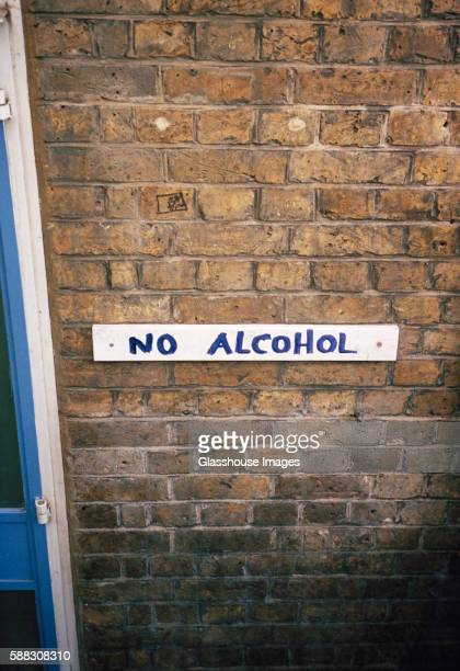 No Alcohol Sign on Brick Wall